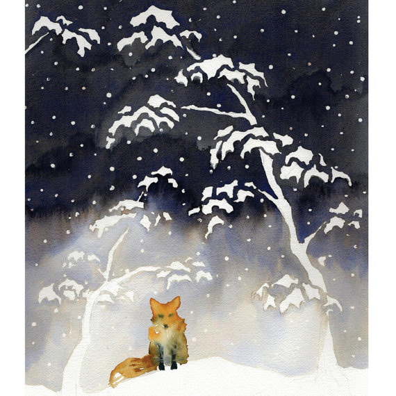 Fox cards, 5 card set, watercolour, trees, snow, Japanese woodblock print