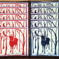 10 Reindeer Christmas cards, 5 card set, woodcut, trees, snow, winter