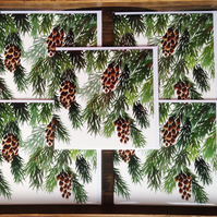Pine cone Christmas card set, 5 card pack, watercolour, trees, snow, winter