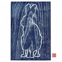 Hare woodblock print, woodcut, wood grain, printmaking