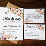 Wedding invitations, floral, flowers, elegant, rustic, pink, summer, spring