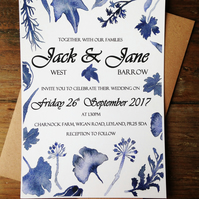 Wedding invitations, blue, leaves, watercolour, rustic, flowers, floral, natural