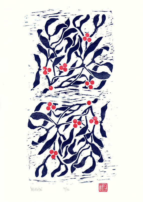 Mistletoe Woodblock print