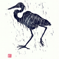 'Wet Heron' woodcut, woodblock print, Japanese, art print