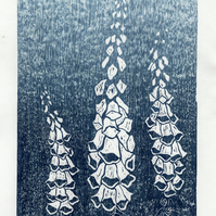 Foxgloves Japanese woodblock print, woodcut,garden, printmaking, blue, art print