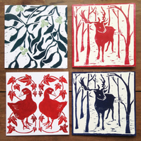 Christmas card pack, mixed set of 4 Christmas cards watercolour, woodblock print