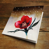 Pack of 10 watercolour Christmas cards, Hellebore Christmas rose, set of cards