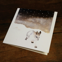 Pack of Snow Hare Christmas cards,Set of 5 watercolour cards, snow, Japanese