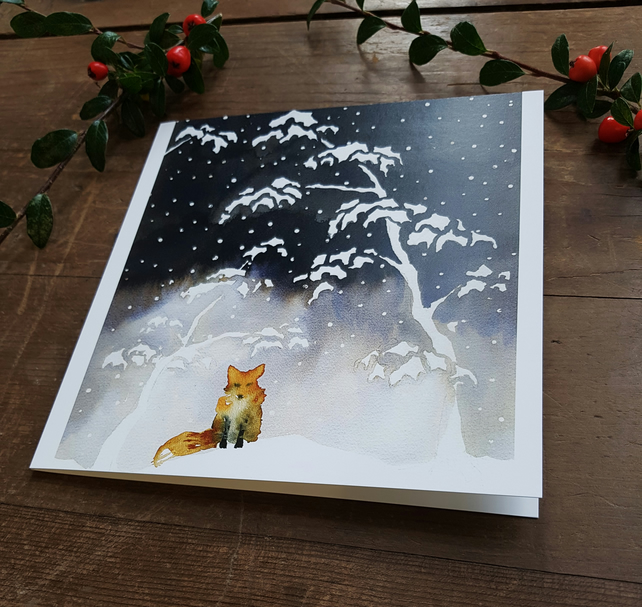 Fox in the snow Christmas card, Japanese watercolour, painted, artist card