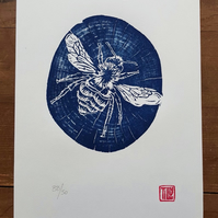 Bee woodcut, woodblock print, garden, printmaking, prussian blue, art print