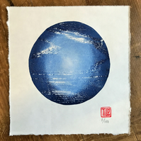 Circle woodcut, planet, circular, Japanese woodblock print, blue
