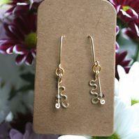 Gold plated curvy earrings