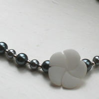 Asymmetric grey glass pearl and white quartzite necklace
