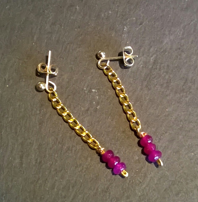Purple quartz and gold plated chain earrings