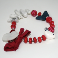 Red and white nature bracelet