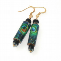 Peacock paper bead earrings