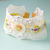 White lace and ribbon cuff bracelet