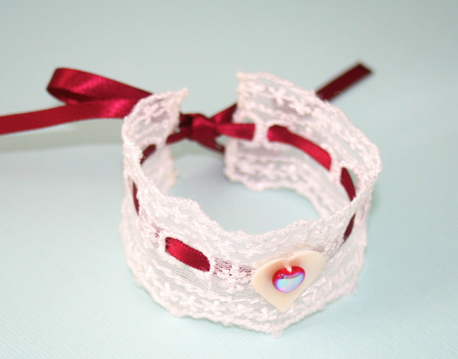White lace and red ribbon heart cuff bracelet