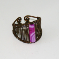 Wire wrapped striped agate ring