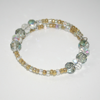 Crystal and seed bead bracelet