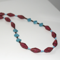Turquoise and marsala paper and glass bead necklace