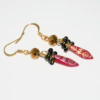 Red, black and gold dagger earrings
