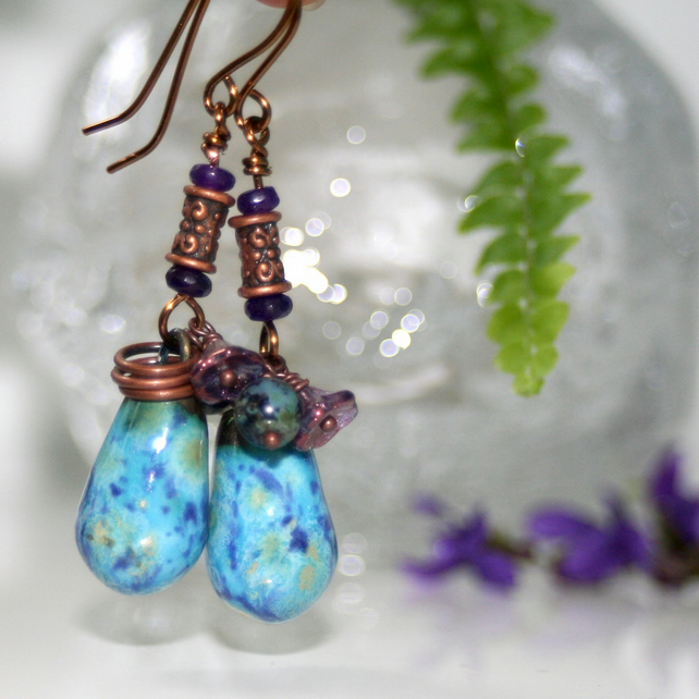 Blue and copper ceramic drop earrings