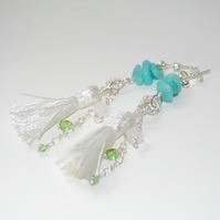 Amazonite tassel earrings