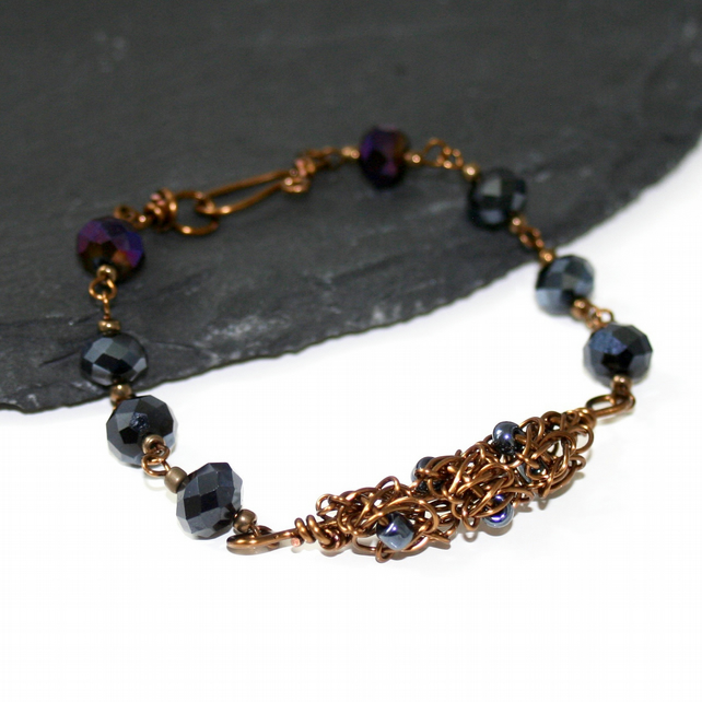 Black and bronze crystal and knotty wire bracelet