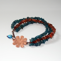 Neon apatite, carnelian and copper flower multistrand bracelet