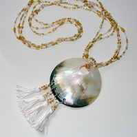 Longline statement shell and beaded necklace