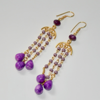 Purple magnesite chandelier earrings