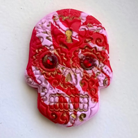 Red and pink sugar skull fridge magnet with Swarovski crystals