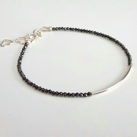 Black spinel and sterling silver bracelet