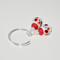 Red and orange dot lampwork glass hoop earrings
