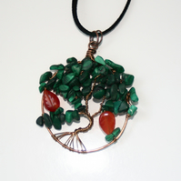 Malachite and carnelian tree of life necklace
