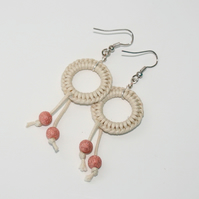 Natural macrame earrings with copper sparkle beads