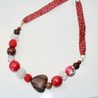 SALE Chunky red wood and textile bead necklace