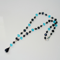 SALE Rosary linked black and blue crystal necklace
