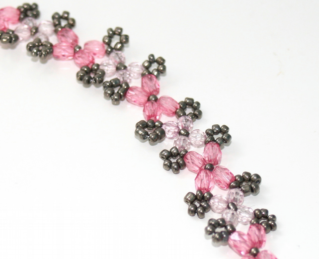 Pink and grey beadwork bracelet