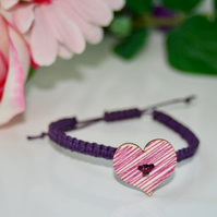 Purple wooden heart macrame bracelet