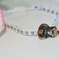 Wooden guitar button macrame bracelet