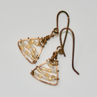 Wire-wrapped Christmas tree earrings, gold and white