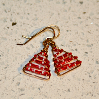 Wire-wrapped Christmas tree earrings, red and silver