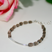 Smokey quartz and sterling silver bracelet