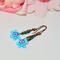 Blue flower wire-wrapped earrings