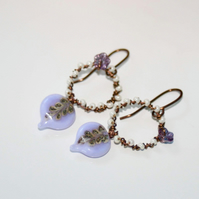 Lilac glass leaf and antique bronze wire-wrapped earrings