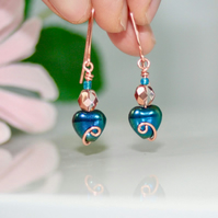 Copper and peacock blue heart earrings
