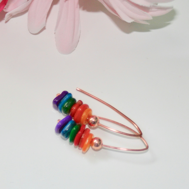 Rainbow shell and copper earrings