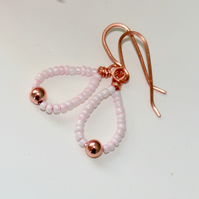 Pink seed bead and copper earrings